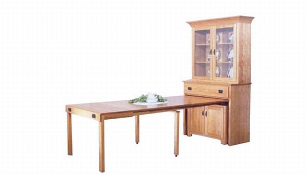 Mission Hutch With Pull-Out Table