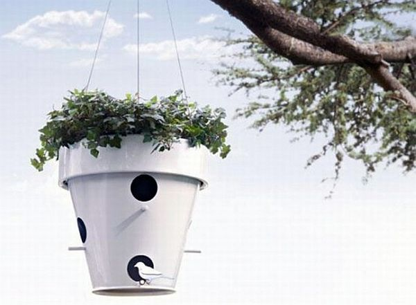 Modern Planters Combine with Pet Shelter