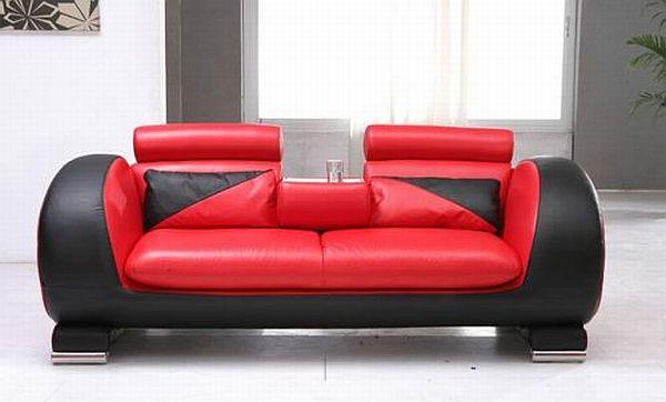 Modern Red Black Leather Loveseat