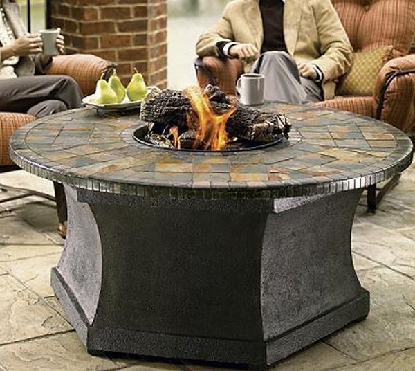 Outdoor fire pit with mosaic top