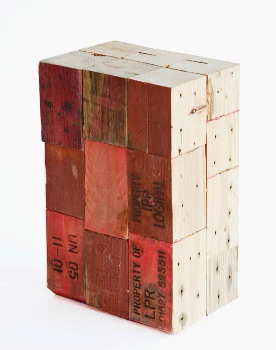 pallet block stool red