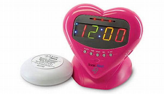 pink colored alarm clock