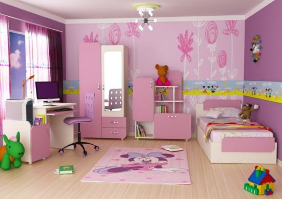 pink colored bedroom