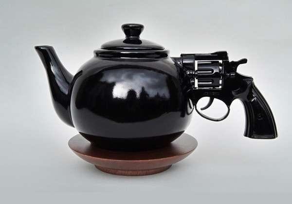 Pistol handled teapot