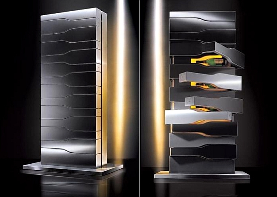 porsches futuristic champagne tower