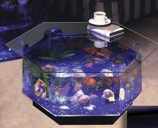 Prosperity Fountain Coffee table home decor with built-in aquarium