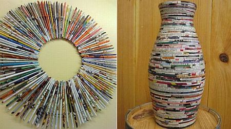 recycled magazine decor