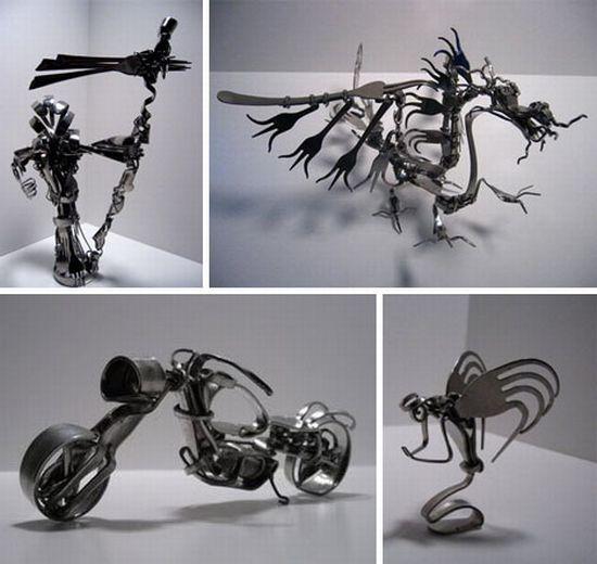 recycled metal fork art