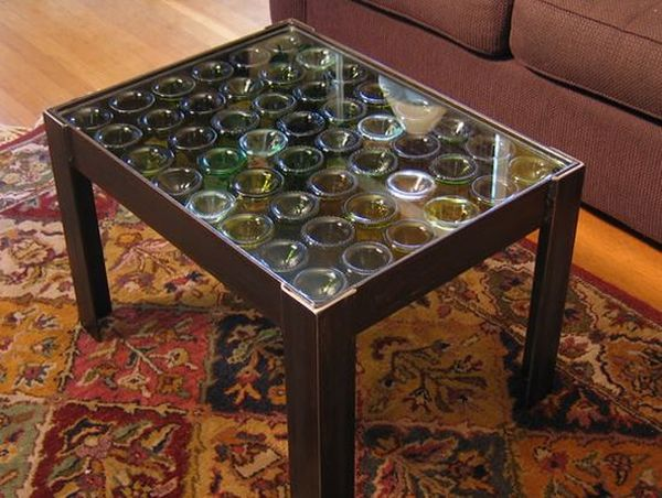 Recycled wine bottles coffee table