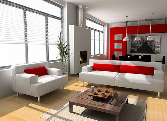 red white themed interior