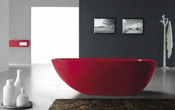 Red Freestanding Bathtub