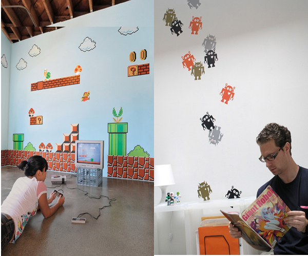 Retro gaming and cool giant robot wall decals