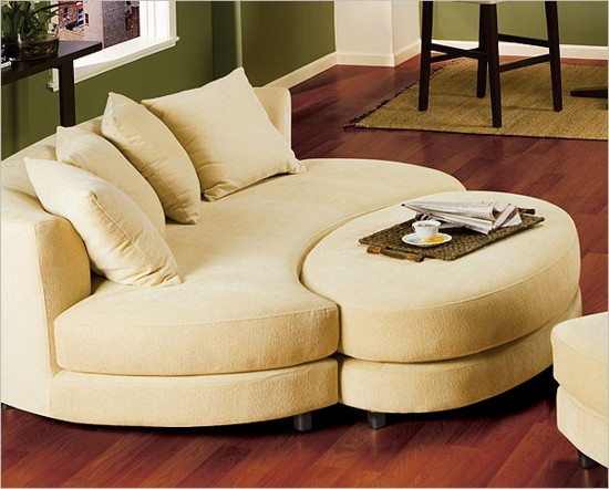 Roundabout Oval Sofa And Ottoman Set