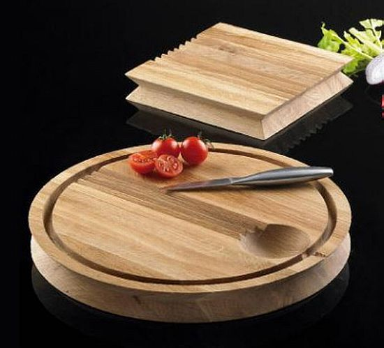 Groovy oak chopping board will keep vegetables in their place ...