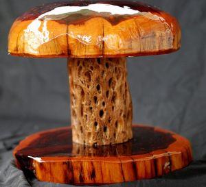 rustic mushroom lamp