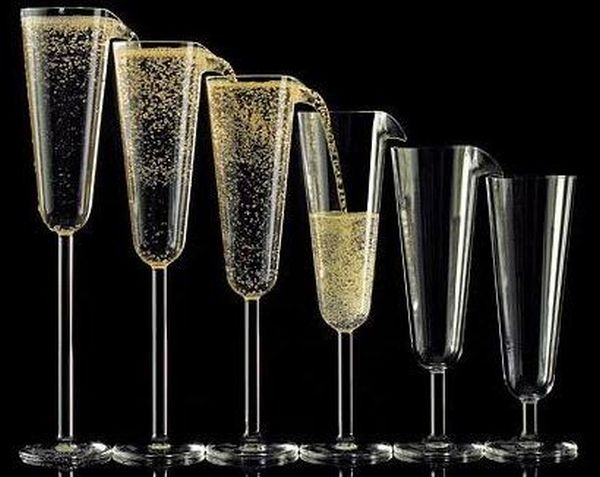 Self-filling champagne glasses