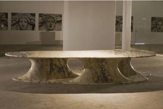 serene pebble marble table