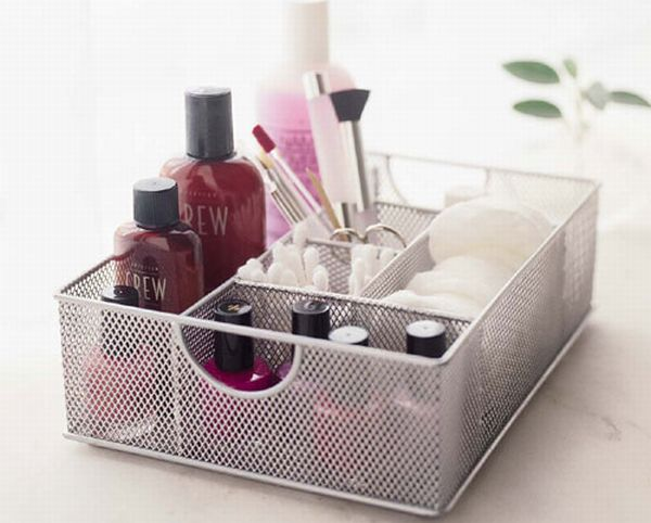 Silver Mesh Vanity Organizer by Design Ideas