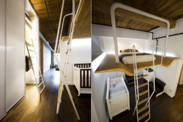 small loft bedroom and baby crib