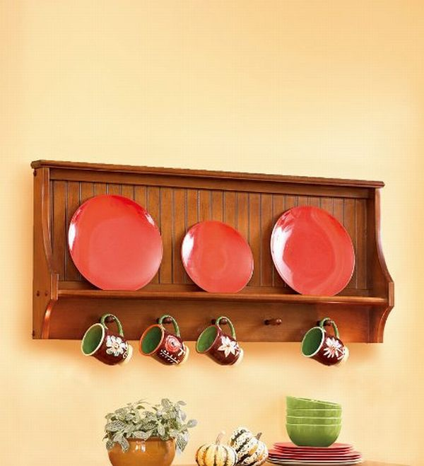 Solid Wood Harvest Plate and Cup Display Rack