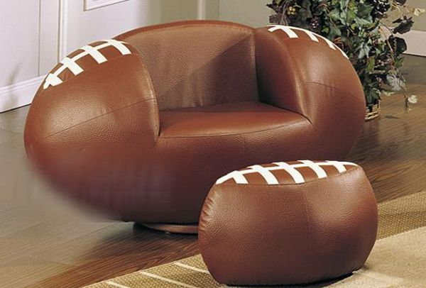 Swivel chair and Ottoman set with football design