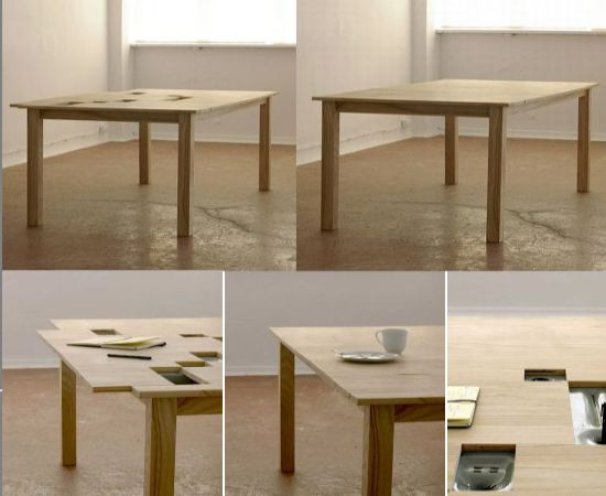 Tab Office Desk Dining Table With Hidden Compartments