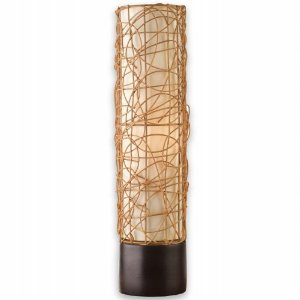 This Table Lamp Is Complemented With Espresso Finish On Round Base. It Has  A Straight Shade With Rattan Detailing And Off/on In Line Switch For Easy  ...
