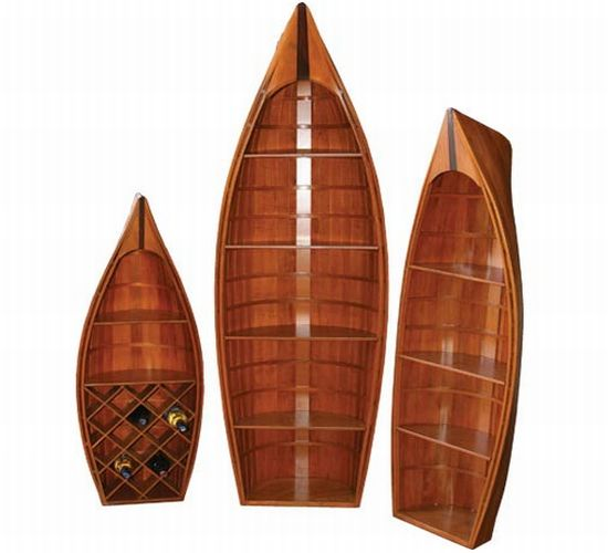 three piece canoe bookshelf