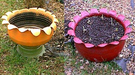 tires as garden planters