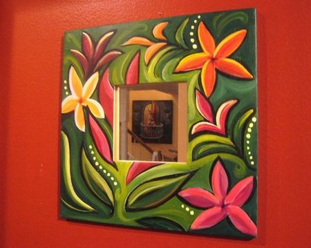 tropical floral mirror