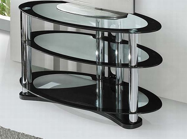 TV Stand with Glass Oval Shelving