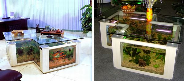 twin-square Coffee table aquarium