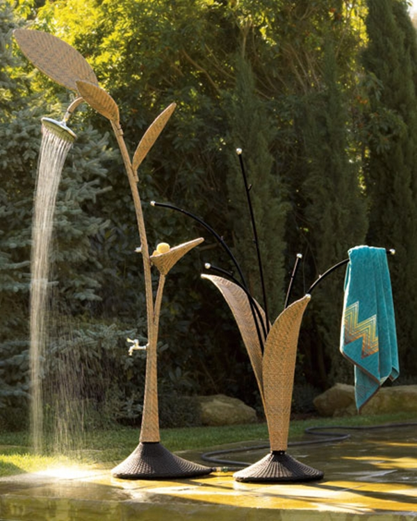 unique outdoor wicker shower