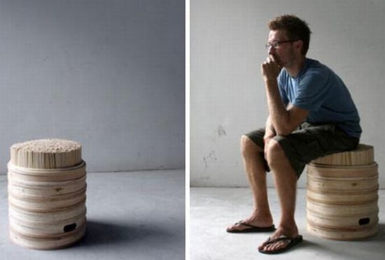 upcycling wooden chopstick stool
