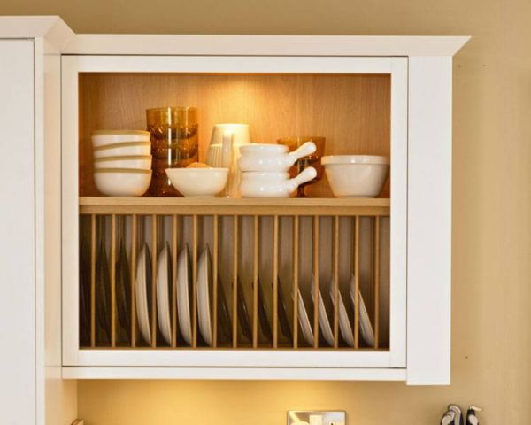 Wall mounted plate rack in classic kitchen