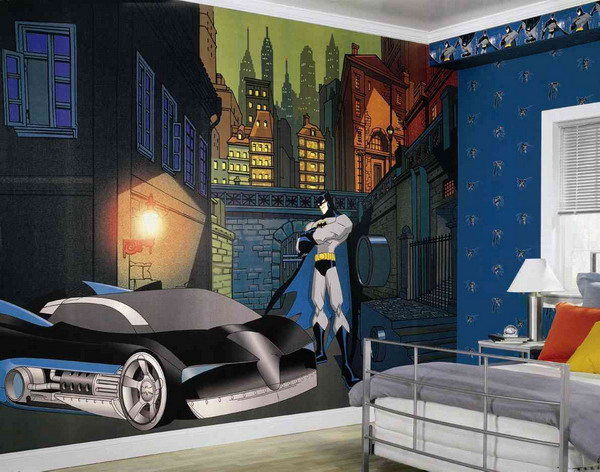 Wall mural with superhero theme