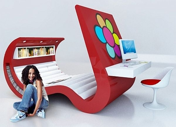 Wave Chaise Teenage Bedroom Set
