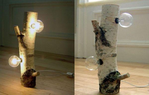 White birch wood lamp