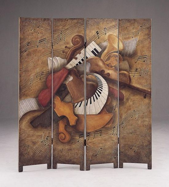 Antique musical theme abstract room divider hometone for Music themed furniture