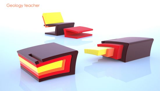Modular Low Armless Easy Chair For Space Cramped Homes