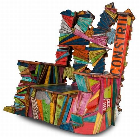 Rocking chair made from over 300 pieces of recycled ...