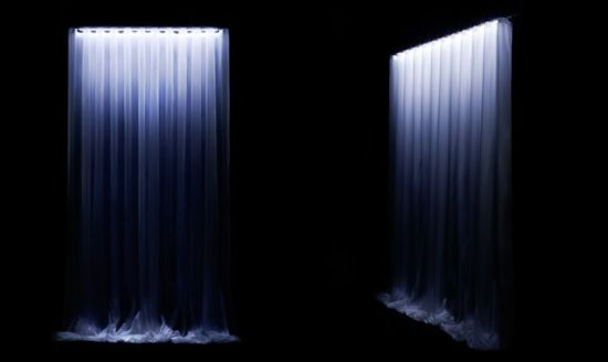 waterfall led curtain glows to create unique ambience hometone home automation and smart. Black Bedroom Furniture Sets. Home Design Ideas