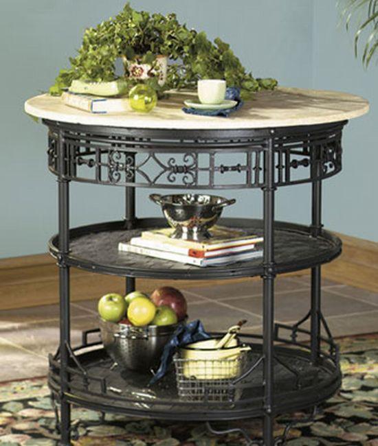 Round kitchen island with travertine marble top hometone for Round kitchen island