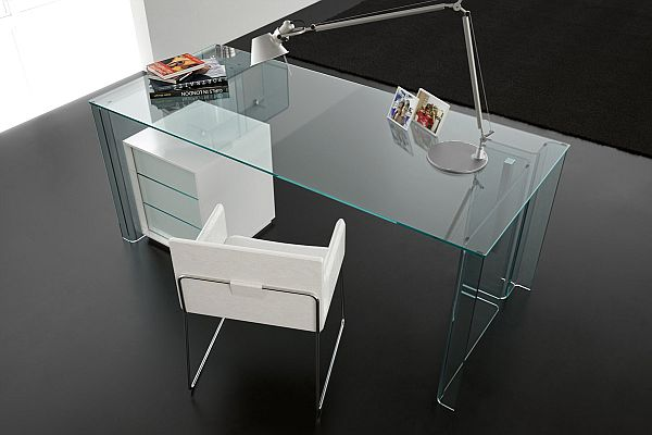 Glass Home office desk. Colorless ...