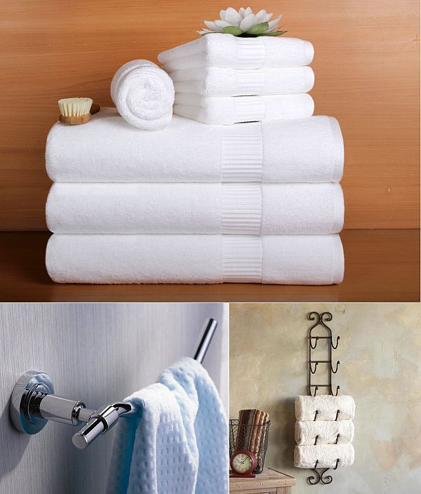 Perfect A Set Of Towels Neatly Folded Up And Stacked On A Towel Rack Or Towel Holder