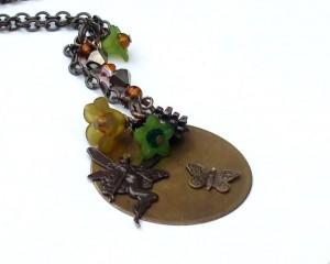 Vintaj Natural Brass -Whimsical Nouveau Fairy Charm necklace