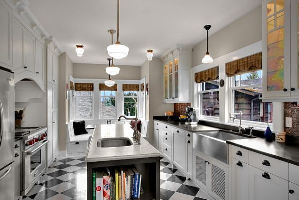 Charming-Classic-Kitchen-Checkered-Patterns-Floor-White-Cupboard-Door