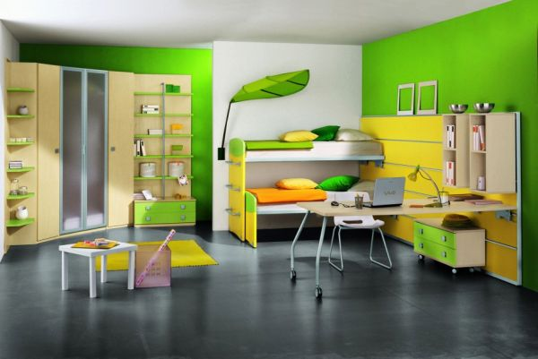 Green-and-yellow-modern-kids-bunk-bed