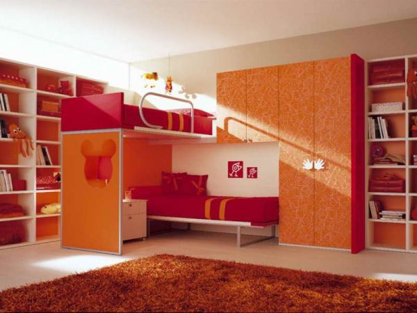 How-to-Choose-Cool-Kids-Bed-with-orange-cabinet