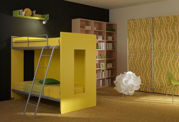 Yellow-bunk-beds-for-kids
